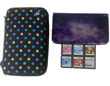 Nintendo 3DS XL Galaxy Style Purple Handheld Console w/ 6 Games & Carrying Case