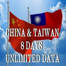 China and TaiWan Travel 8days 4G LTE Unlimited Data SIM Card *FREE POSTAGE*