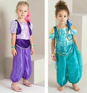 SHIMMER AND SHINE GENIE FANCY DRESS OUTFIT  COSTUME GREEN,PURPLE AGE 3-10