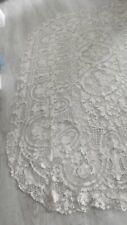 VINTAGE coton  crochet crème dentelle Couvre-lit/Nappe fait main textiles ancien