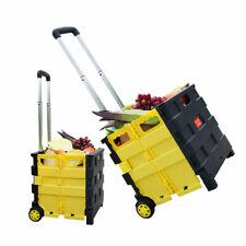 Flish Foldable Utility Yellow Grey Cart Folding Portable Rolling Shopping Cart