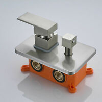 Brushed Nickel 3-Way Mixer Valve Wall Mount Brass Diverter Valve Embedded Box