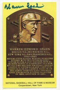 Warren Spahn - Baseball Hall of Fame - Autographed Yellow HOF Plaque Postcard
