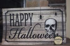 "HAPPY HALLOWEEN PRINTED MAT WITH SKULL AND SPIDERS HEAVY WEIGHT 18""X30"" TEXTURED"