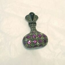Judith Jack Perfume Bottle Marcasite and Purple Enamel Pin