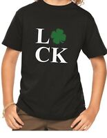 Youth Luck Shirt Funny Saint Patrick's Day Tee Shamrock Boys & Girls Paddys Day