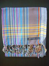 Kikoy Kikoi Blue Multi Narrow Cotton Sarong Throw Africa Kenya Swimwear NEW