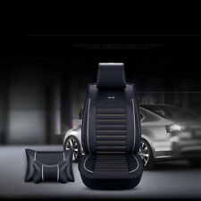 Luxury SUV/Sedan 5-Seat Car Seat Cover Set Cushion Front Rear Black White Stitch