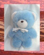Doudou Peluche Ours Bleu Et Blanc Noeud Blanc Oursons Hochet Nounours 18 cm