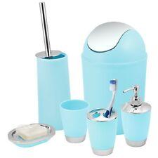 Blue Bathroom Accessories Set Bin Toothbrush Tumbler Holder Soap Dish Dispenser