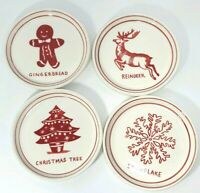 """4 Molly Hatch Vintage Christmas Canape Plates 5"""" Anthropologie dinner parties"""