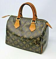 Louis Vuitton Speedy 25 Handbag Monogram w/ Lock and Keys Authentic Small Bag