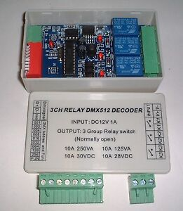 boxed 3CH dmx512 4 amp relay Controller PCB UK Seller