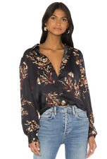Equipment Femme Women's Danton Navy Blue Floral Long Sleeve Blouse Size XS NWT