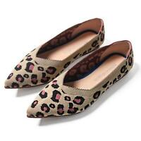 Fashion Leopard Womens Loafers Ballet Flats Pointed Toe Shoes Knitting Slippers