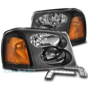 FOR 02-09 GMC ENVOY XL XUV FACTORY STYLE BLACK HEADLIGHTS LAMP W/BUMPER LED DRL