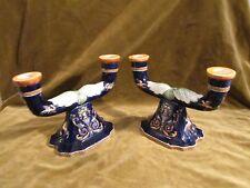 2 Bouts de table 2 branches  Gien renaissance bleu 1960 (candelabras)