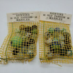 Genuine Old Fashion Marbles Vintage 2 lots Approx.  18 Per Bag
