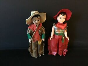2 Vintage 1950's/1960's Jointed Cowboy & Cowgirl Hard Plastic Dolls: Sleepy Eyes