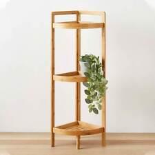 Bathroom Wooden Corner Shelf Rack Storage Organiser Caddy Plant Pot Stand Brown