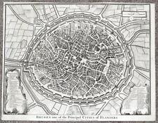 BRUGES, BRUGGE, BELGIUM, City plan, Rapin/Tindal antique map 1745