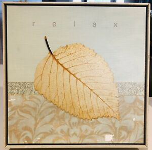 Wood Framed Wall Art Relax Leaf