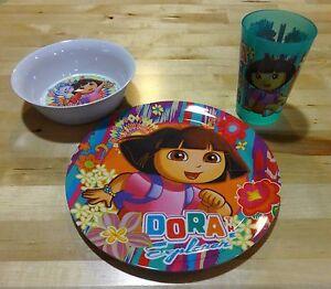 Zak! Mealtime Set Dora the Explorer Boots Monkey 3-Piece Plate Bowl Tumbler 1166