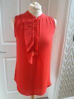 Banana Republic Poppy Red Vest Top sleeveless blouse Size M ruffle pleat detail