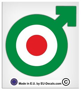 100mm-4'' Male Symbol Green target Laminated Decals Stickers for Vespa GTS GTV