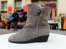ARA Damen Stiefel Boots Gr. 42 UK 8 Grau Wildleder Futter Biberlamm True Vintage