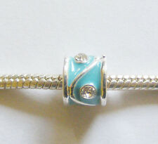 1 Silver Plated Enamel Charm Bead - Tuquoise/Rhinestones - For Charm Bracelets