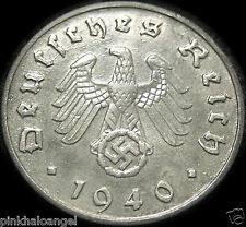 Germany  German Third Reich  German 1940F 10 Reichspfennig Coin  Rare WW 2
