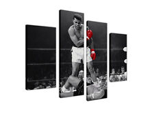 "LARGE CANVAS PRINTS LEGEND MUHAMMAD ALI RED GLOVES 4 PANEL 35"" 90cm XXL PICTURES"