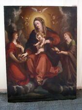 """Olio su tela, epoca fine '600, dipinto """"Madonna del Rosario"""", scuola bolognese"""