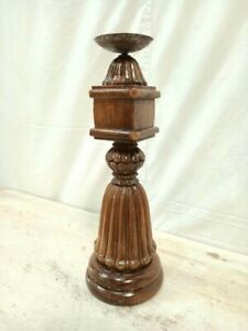 Antique Indian Pillar Leg NATURAL Wood Carved Vintage Candle stand holder Raw A