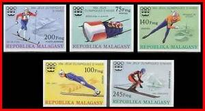 MADAGASCAR 1976 WINTER OLYMPICS imperforated CV.30 € SKIING, SKATING M-AL