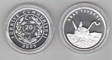 TURKEY -SILVER PROOF 20 NEW LIRA COIN 2005 YEAR KM#1183 ANIMALS FIVE TOED JERBOA