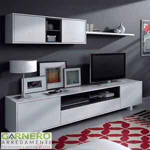Parete attrezzata BELLE bianco/antracite mobile soggiorno tv design pensili sala