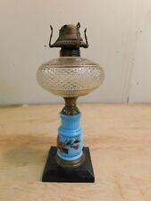 Blue Opaline Glass Base Hand Painted Oil Lamp Diamond Pattern Glass Fount