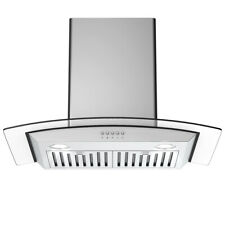 30' Wall Mount Kitchen Range Hood Stainless Steel Tempered Glass w/ Led Lights