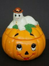 Vintage Lefton Halloween themed Trinket Box with Lid-Hand Painted -unique