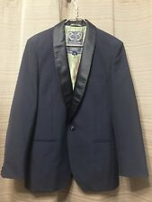 SCOTCH & SODA MEN'S JACKET SIZE L / 50 BLUE WITH BLACK COLLAR & BUTTONS LINED