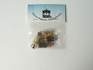 Dollhouse Miniature 1:12 Scale *5 Spice Jars* Kitchen Cooking Glass Salt Corks