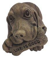 'Life Is Good' Basset Hound Solid Cast Stone Garden Sculpture-Cute Animal Statue