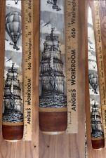 Scrimshaw Swordfish Bill Pen-And-Ink K. Henry Ship Balloonist Balloon