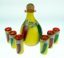 Mexican Shot Glasses (6), Red Green Chili, Yellow bottle, hand painted hand made