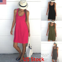 US Womens Summer Cotton Vest Sleeveless Sundress Beach Loose Dress Tank Top Size