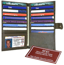 Brown RFID Blocking Leather 19 Card Men Wallet ID Checkbook Cover Holder