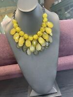 """Bright Yellow  Faceted Lucite Beaded Chunky Charm Dangle Statement Necklace 18"""""""
