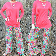 LADIES FLORAL PRINTED PALAZZO TROUSERS WOMEN SUMMER WIDE LEG PANTS PLUS SIZE